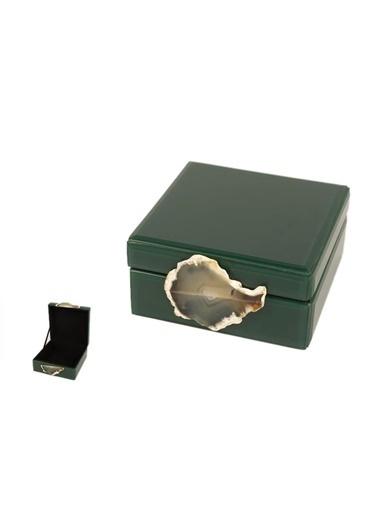 Mikasa Moor Yeşil Gümüş Doğal Taş Kutu 17X8Cm Renkli